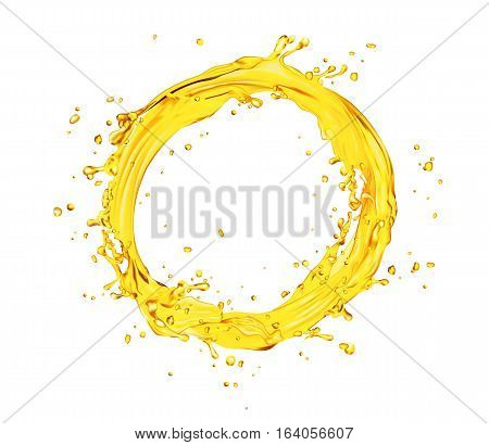vector orange juice splash circle shape on white background