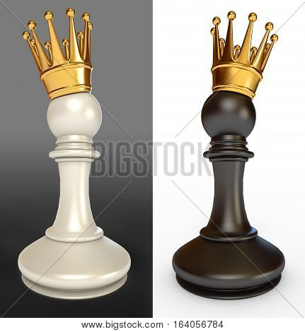 White Pawn With A Golden Crown, Black Pawn With A Golden Crown