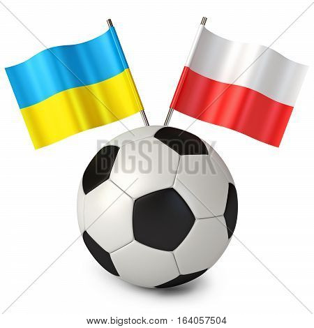 Soccer Ball With Flags Poland Ukraine. Euro 2012 Cup