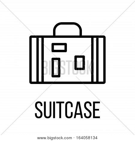 Suitcase icon or logo in modern line style. High quality black outline pictogram for web site design and mobile apps. Vector illustration on a white background.