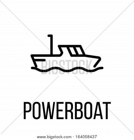 Powerboat icon or logo in modern line style. High quality black outline pictogram for web site design and mobile apps. Vector illustration on a white background.