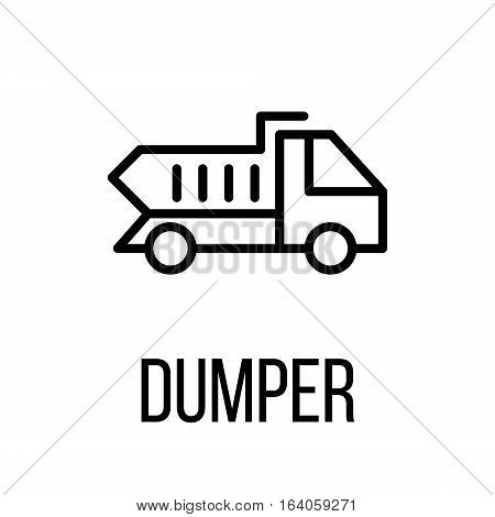 Dumper icon or logo in modern line style. High quality black outline pictogram for web site design and mobile apps. Vector illustration on a white background.