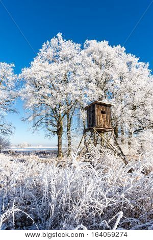 Wooden Hunting Shelter In Front Of Trees Covered By Frost