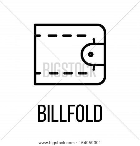 Billfold icon or logo in modern line style. High quality black outline pictogram for web site design and mobile apps. Vector illustration on a white background.