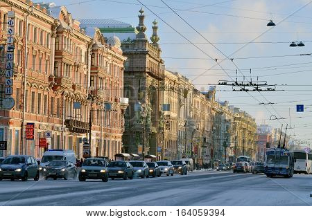 05.01.2017.Russia.Saint-Petersburg.View of the Central Avenue of the city.On the road moving cars.