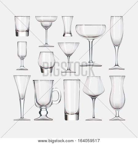 Vector set of empty cocktail stemware and glasses for alcohol