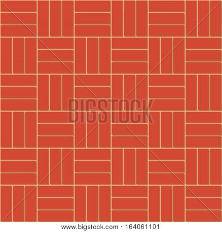 Cartoon cute decorative Basket Weave bond of new clean red brick wall, vector seamless background