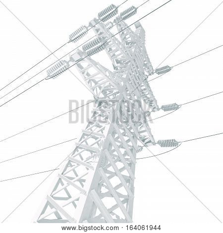 Power Transmission Line. 3D illustration. Isolated on white background