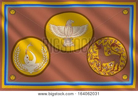 Flag of Eastern Province is one of the nine provinces of Sri Lanka. 3d illustration