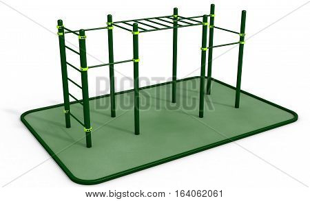 Parallel green bars at sports ground for workout on the white background, 3D rendering.