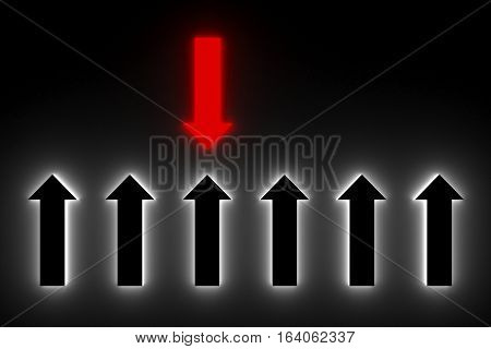 arrow shows the leader in the neon glow 3d illustration