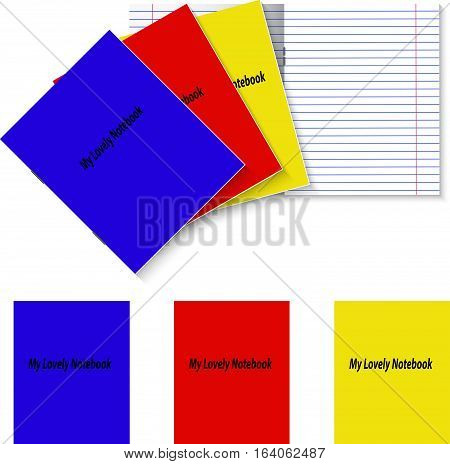 Three student books template with color covers and double pages paper sheet school writing exercise book with red margins and staples, vector mockup