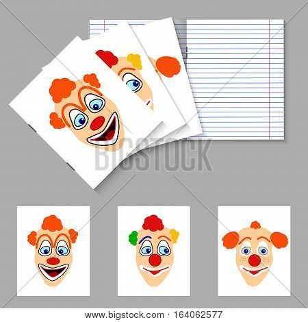 Three student books with smiling clown's with orange and color shaggy hair on cover, double pages paper sheet school writing exercise book clean lined texture worksheet pattern, vector illustration