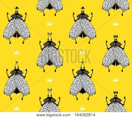 Flies with crowns on yellow background. Vector pattern illustration.