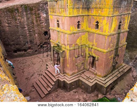 LALIBELA ETHIOPIA - JUNE 26 2016: Church of Saint George (Bete Giyorgis) Lalibela Ethiopia. Wide angle.
