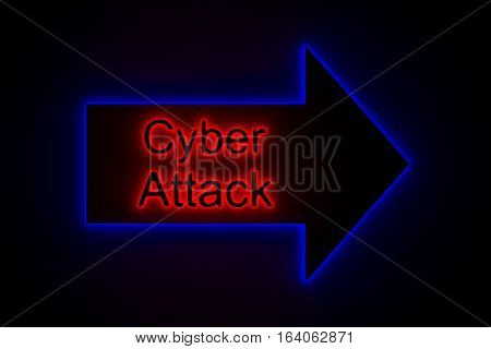 Cyber attack is presented in the form of neon 3d illustration