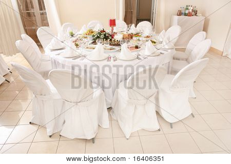 Table set for an event party or wedding reception poster