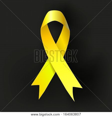 Childhood Cancer Awareness Yellow Ribbon on dark background. Vector
