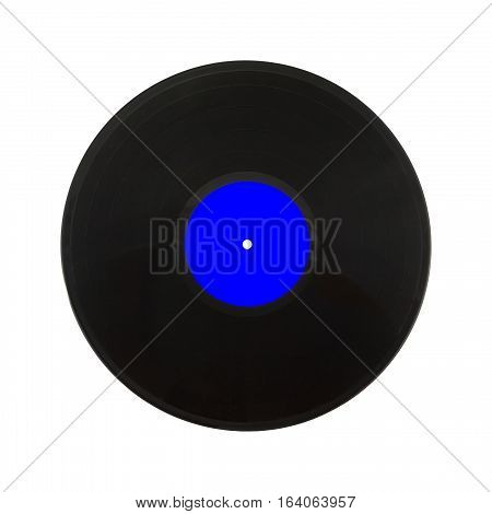 Single black long-play vinyl record with blue label isolated on white background. Square Photo closeup