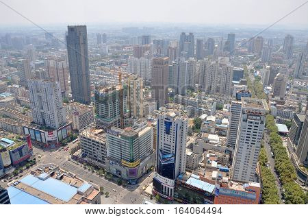 NANJING, CHINA - AUG. 6, 2012: Aerial view of Nanjing City center skyline (South), viewed from Xinjiekou CBD, Nanjing, Jiangsu Province, China.