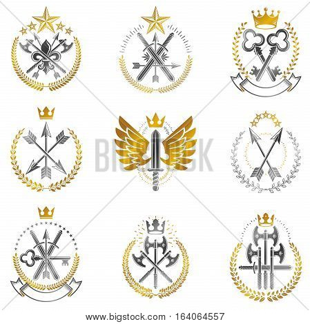 Vintage Weapon Emblems set. Heraldic Coat of Arms decorative emblems isolated vector illustrations collection.