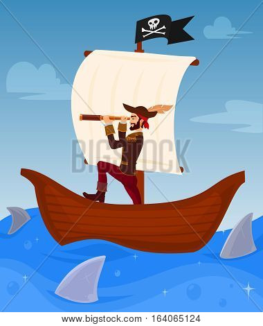 Vector illustration of a pirate captain leads his ship among dangerous sharks