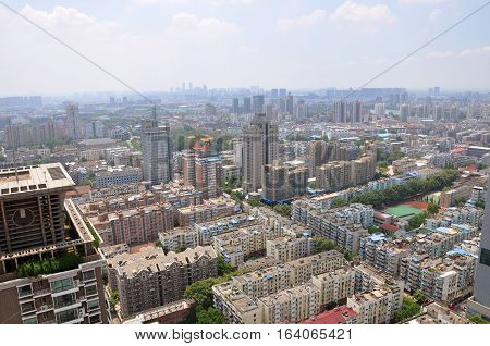NANJING, CHINA - AUG. 6, 2012: Aerial view of Nanjing City center skyline (Southwest), viewed from Xinjiekou CBD, Nanjing, Jiangsu Province, China.