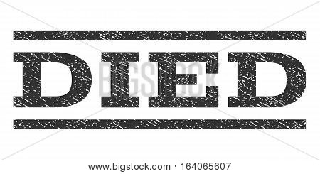 Died watermark stamp. Text tag between horizontal parallel lines with grunge design style. Rubber seal gray stamp with dirty texture. Vector ink imprint on a white background.