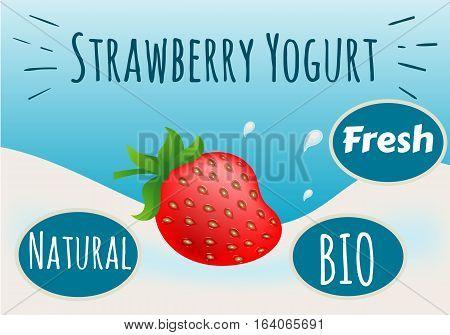 Yogurt Strawberry, Natural, Bio, Fresh, Vector Illustration EPS 10