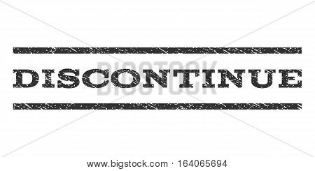 Discontinue watermark stamp. Text tag between horizontal parallel lines with grunge design style. Rubber seal gray stamp with unclean texture. Vector ink imprint on a white background.