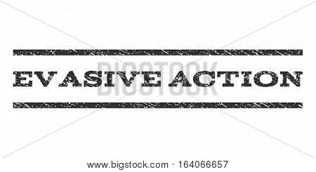 Evasive Action watermark stamp. Text tag between horizontal parallel lines with grunge design style. Rubber seal gray stamp with dirty texture. Vector ink imprint on a white background.