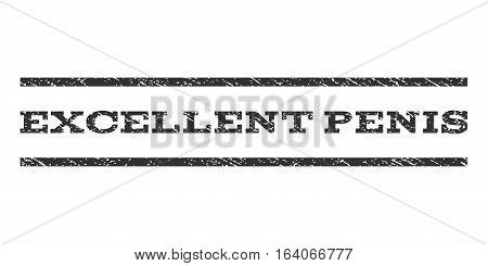 Excellent Penis watermark stamp. Text caption between horizontal parallel lines with grunge design style. Rubber seal gray stamp with scratched texture. Vector ink imprint on a white background.
