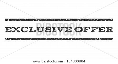 Exclusive Offer watermark stamp. Text caption between horizontal parallel lines with grunge design style. Rubber seal gray stamp with unclean texture. Vector ink imprint on a white background.