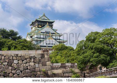 Osaka Castle Or Osaka-jo, The Landmark Of Osaka In Japan
