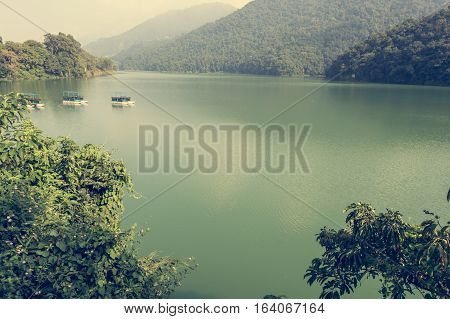 Lake Phewa surrounded by forest. Pokhara in Nepal.