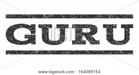 Guru watermark stamp. Text tag between horizontal parallel lines with grunge design style. Rubber seal gray stamp with dirty texture. Vector ink imprint on a white background.