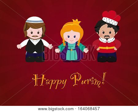 Jewish holiday of Purim. Esther Mordecai and Achashverosh vector illustration of fun characters in cartoon style on dark red background.