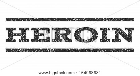 Heroin watermark stamp. Text tag between horizontal parallel lines with grunge design style. Rubber seal gray stamp with unclean texture. Vector ink imprint on a white background.
