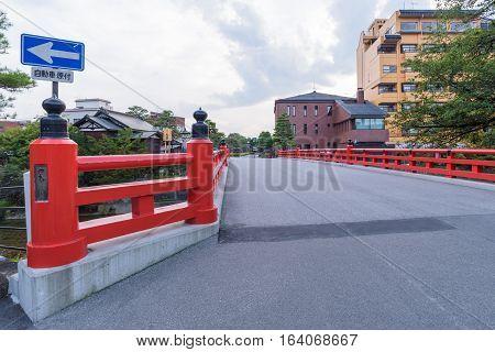 Red Nakabashi Bridge at Takayama in Japan