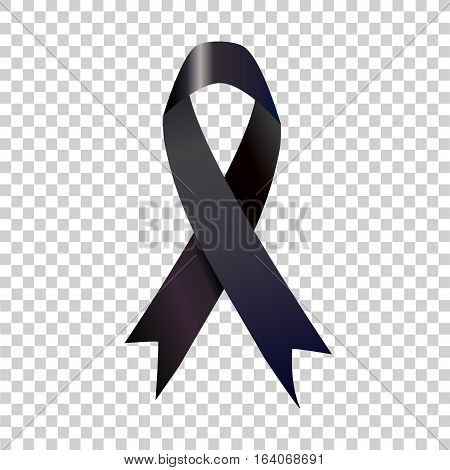 Stock vector illustration black awareness ribbon on transparent background.vector