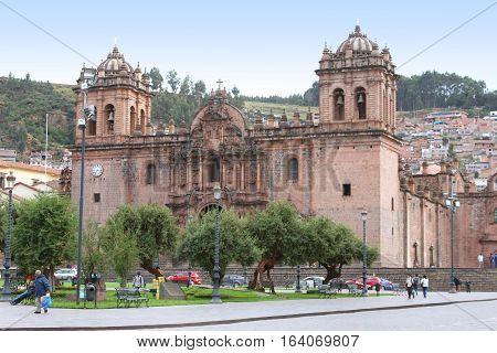 Cusco Peru - December 14 2016: Cusco Cathedral on the Plaza de Armas in Cusco Peru on December 14 2016