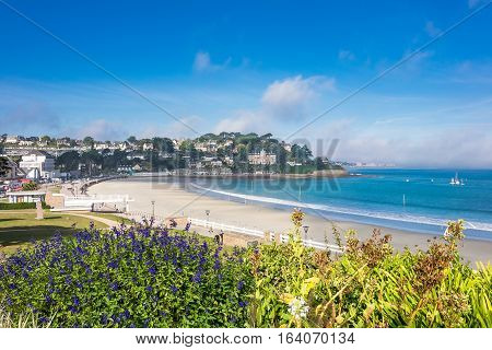 View to the city Perros-Guirec in Brittany France.