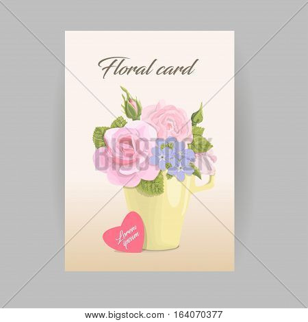 Vintage vertical romantic greeting card flowers in cup. delicate bouquet of roses, buds, leaves on grunge background. For birthdays, weddings, invitations, Valentines day, floral vector illustration