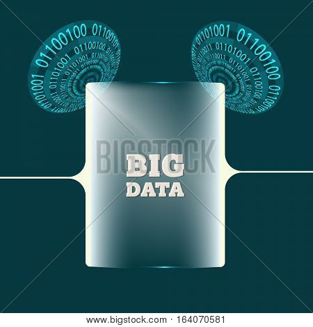 Two abstract circles with binary code with glass panel and the words big data