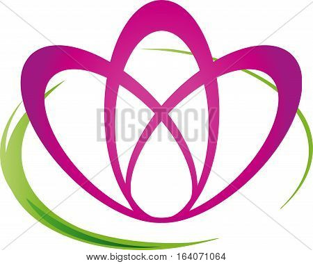 Flower and leaves, wellness and nature logo