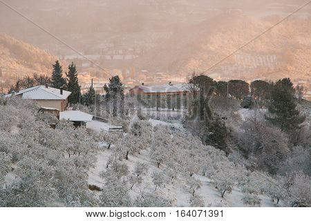 Foligno during snow storm in winter in Umbria