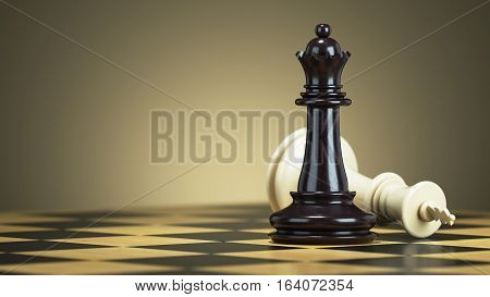 Defeat chess king from a black queen on a chessboard. 3d render