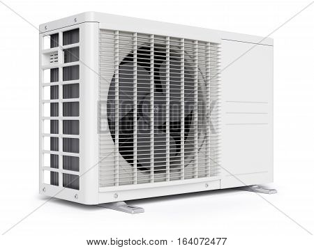 Outdoor air conditioner unit isolated on white background 3d