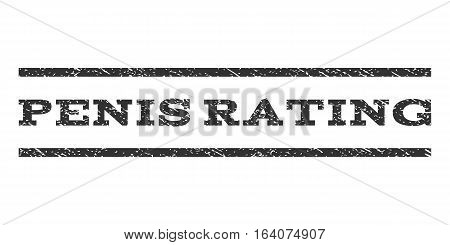 Penis Rating watermark stamp. Text tag between horizontal parallel lines with grunge design style. Rubber seal gray stamp with scratched texture. Vector ink imprint on a white background.