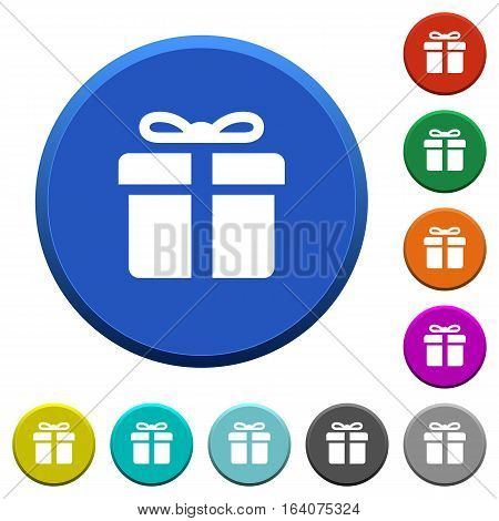 Gift box round color beveled buttons with smooth surfaces and flat white icons